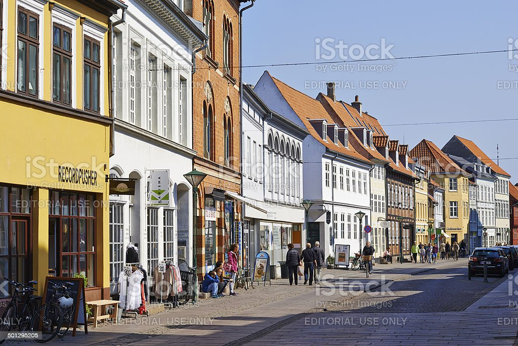 Old town with small streets in Odense stock photo