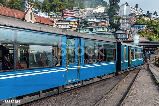 Darjeeling, West Bengal, India - May 18th, 2012: Steam engine of old Toy Train (N.F.795B)in the city of Darjeeling.Nikon D3x