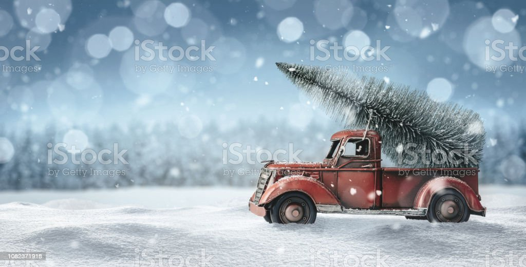 old toy truck with christmas tree picture id1082371918