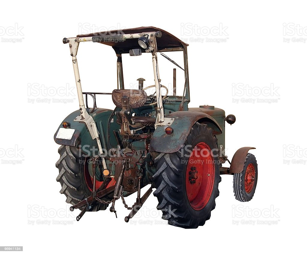 old tractor from behind royalty-free stock photo