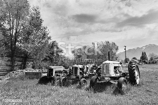 A black and white film scan of old farm tractors sitting in a field.