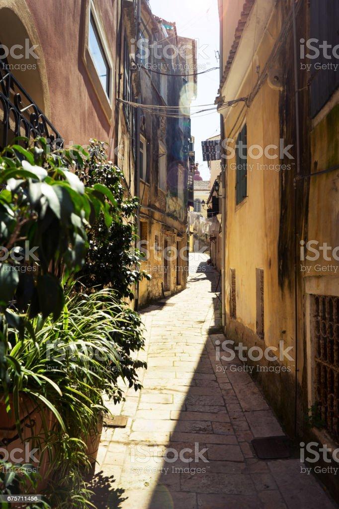 Old tradiotional street at corfu island, Greece royalty-free stock photo