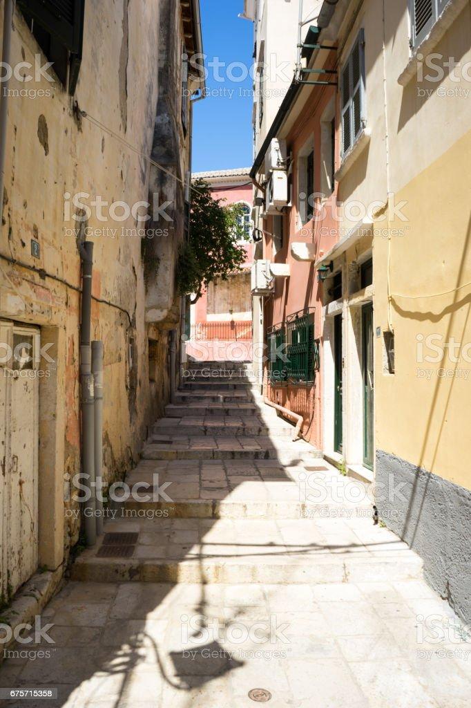 Old tradiotional street at corfu island, Greece 免版稅 stock photo