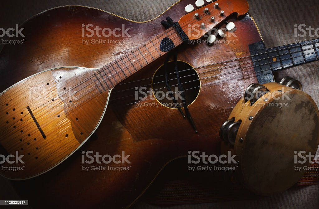 Old Traditional Balkan String Instruments stock photo
