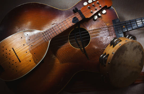 Old Traditional Balkan String Instruments Original Balkan string and percussion instruments, part of Serbian, Croatian and Hungarian tradition and folklore. croatian culture stock pictures, royalty-free photos & images