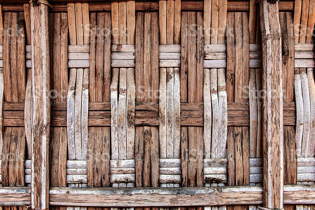 Old traditional bamboo wall stock photo