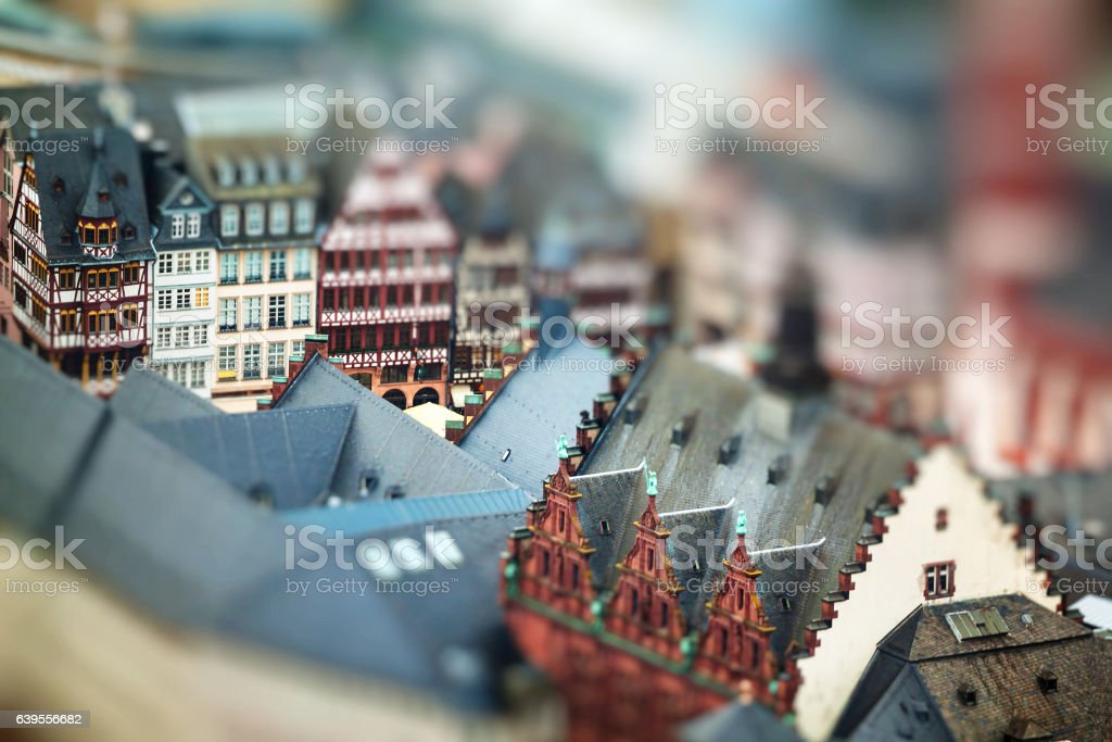 Old traditional buildings in Frankfurt, Germany. Miniature stock photo