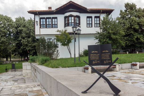 Old traditional Bulgarian school in Kalofer, Bulgaria Kalofer, Bulgaria - August 5, 2018: Old traditional Bulgarian school in historic town of Kalofer, Plovdiv Region, Bulgaria revival stock pictures, royalty-free photos & images