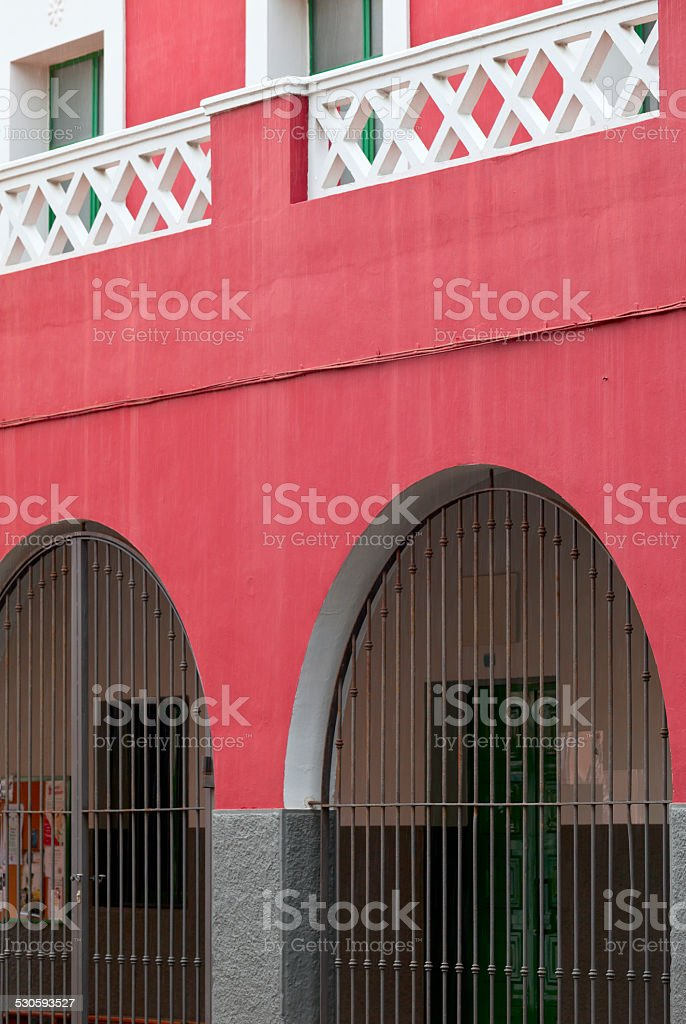 Old traditional canary facade stock photo