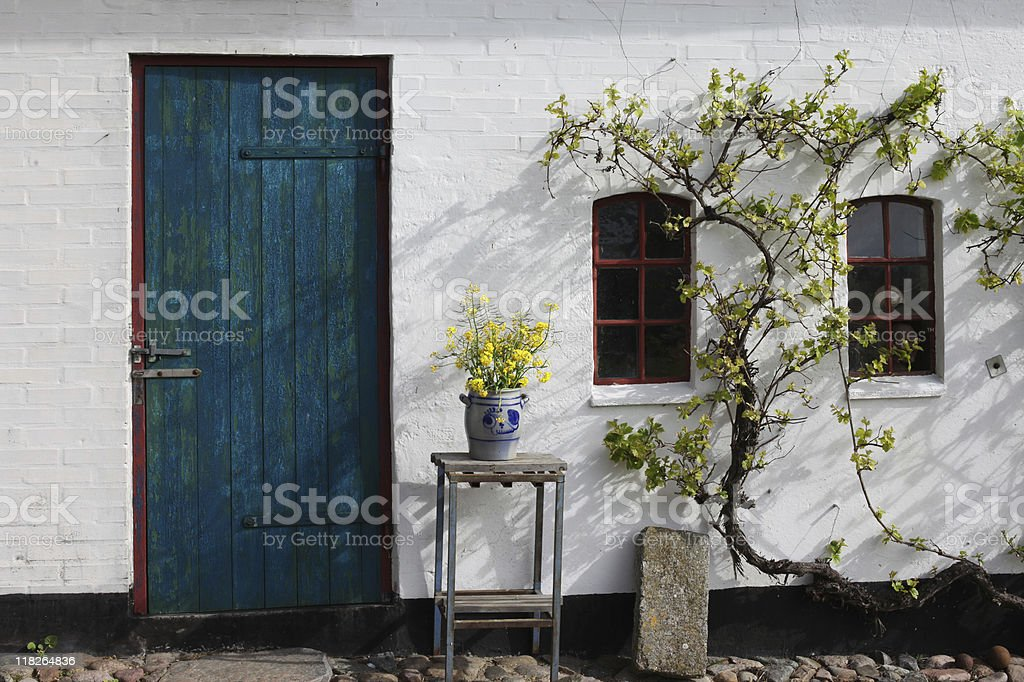 Old traditional  farmhouse in Southern Jutland, Denmark. stock photo