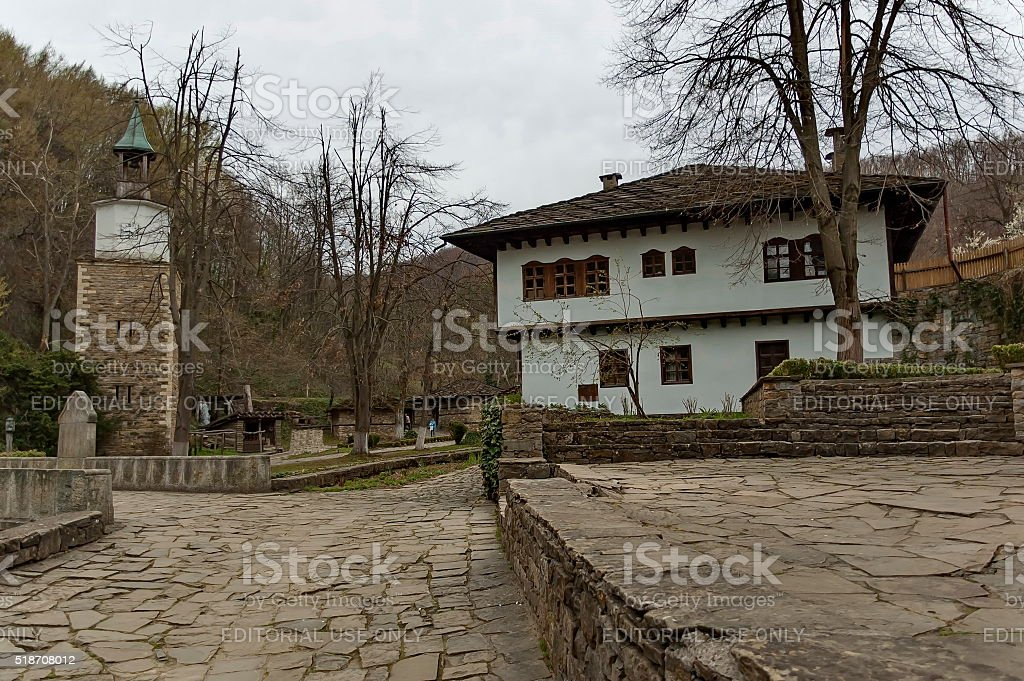 Old traditional houses and part of bridge in Etar, Gabrovo stock photo