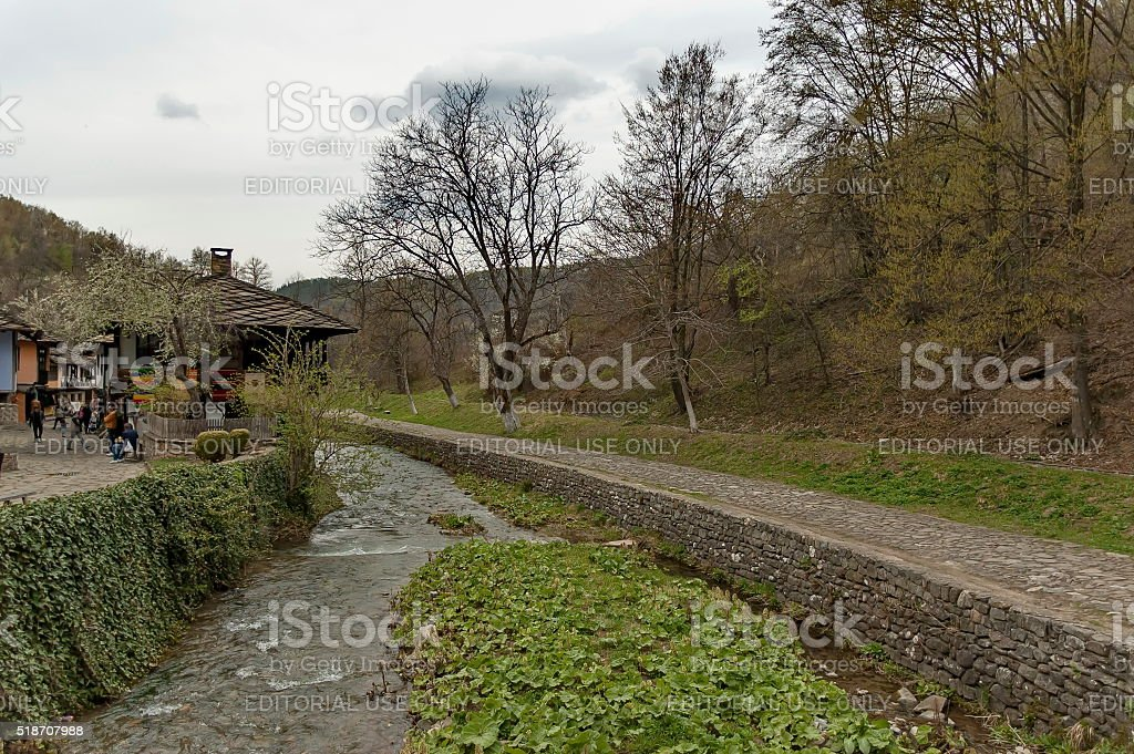 Old traditional houses and river in Etar, Gabrovo stock photo