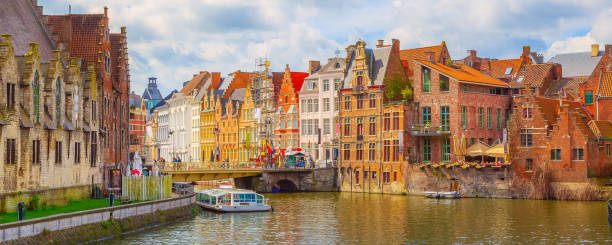 Old traditional houses, canal in Ghent, Belgium stock photo