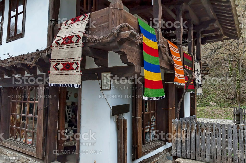 Old traditional houses in Etar, Gabrovo stock photo