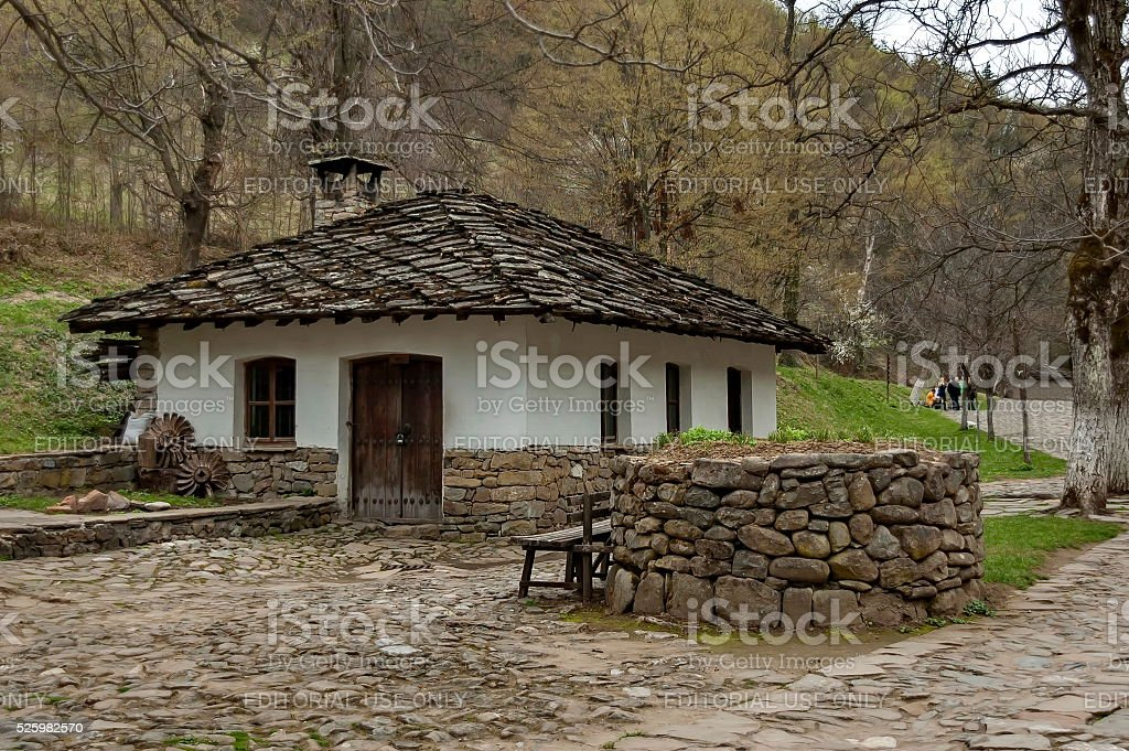 Old traditional houses in Etar stock photo