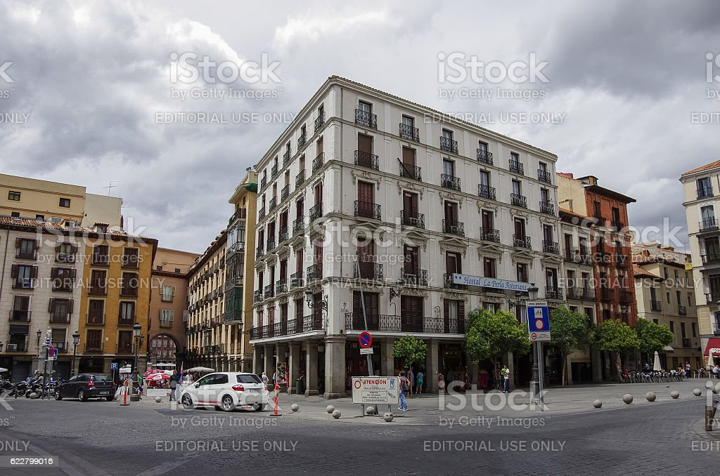 Old traditional houses in historic part of Madrid town stock photo