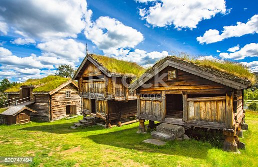 istock Old traditional Norwegian houses. Geilo, Norway. 820747494