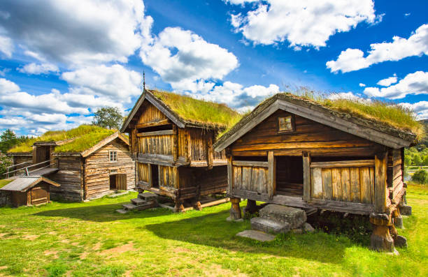 Old traditional Norwegian houses. Geilo, Norway.