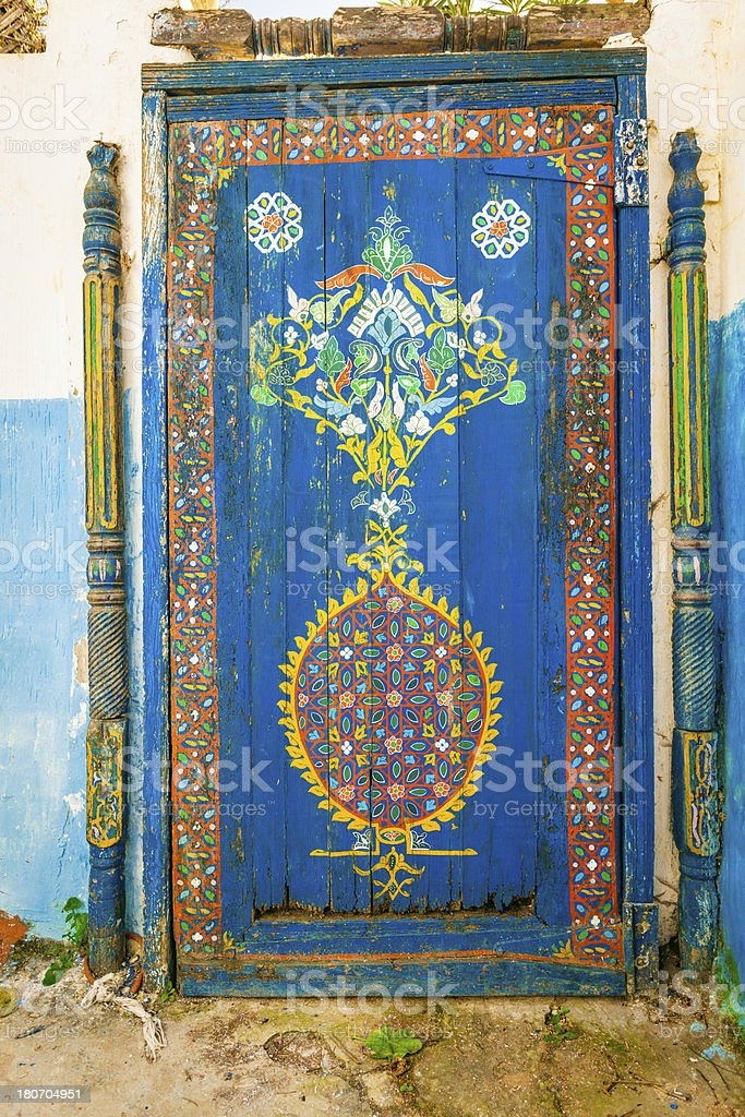 Old blue traditional door in Morocco