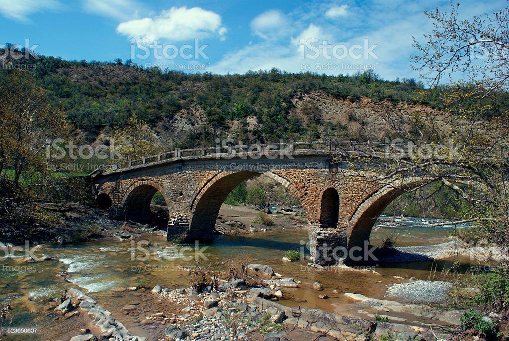 Old traditional stone made bridge at Epirus, Greece stock photo