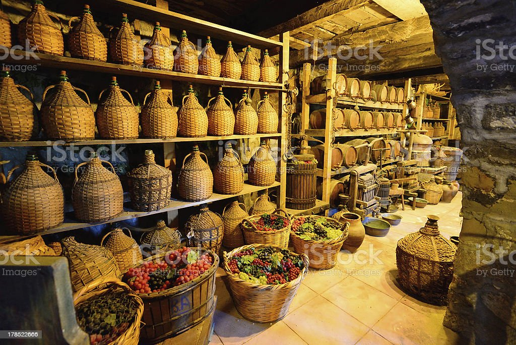 Old traditional storage inside a Greek monastery at Meteora stock photo