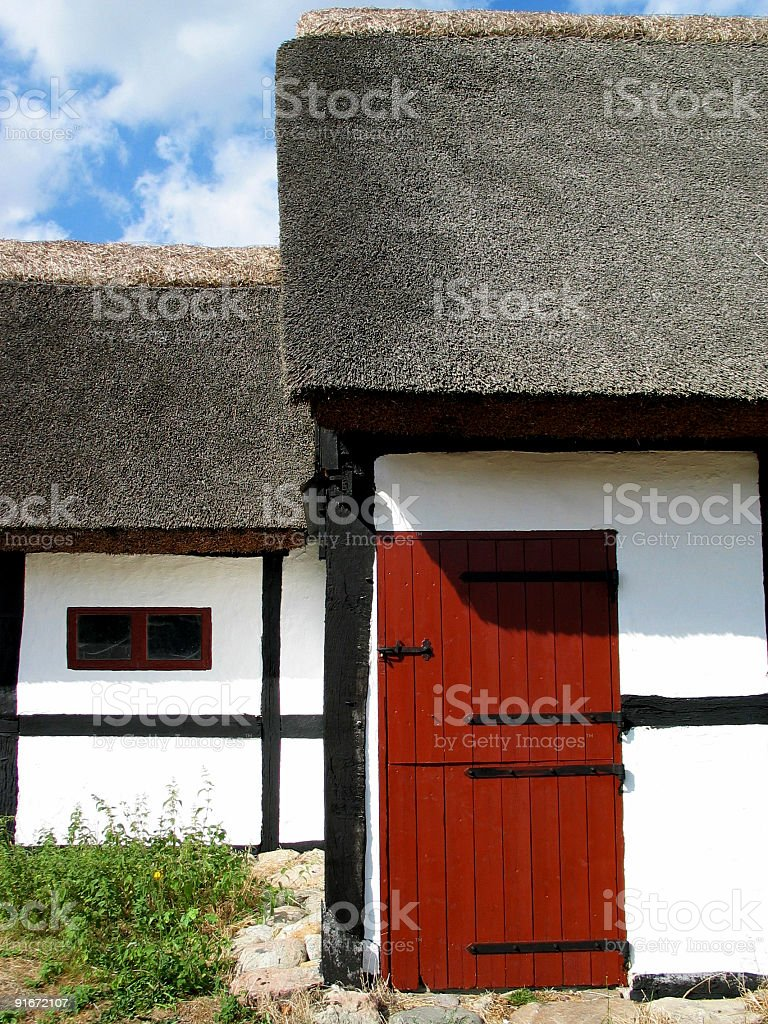 Old, traditional, thatched farmhouse on Zealand, Denmark royalty-free stock photo