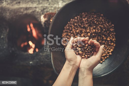 istock Old Traditional Way of Roasting Raw Coffee Beans on Fire 623423592