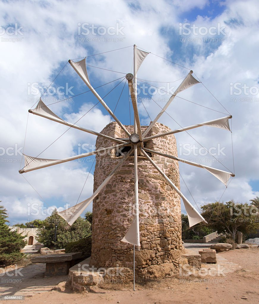 Old traditional windmill stock photo