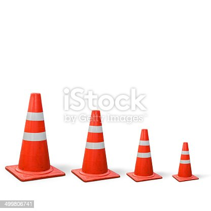 old traffic cones is graph on white background.