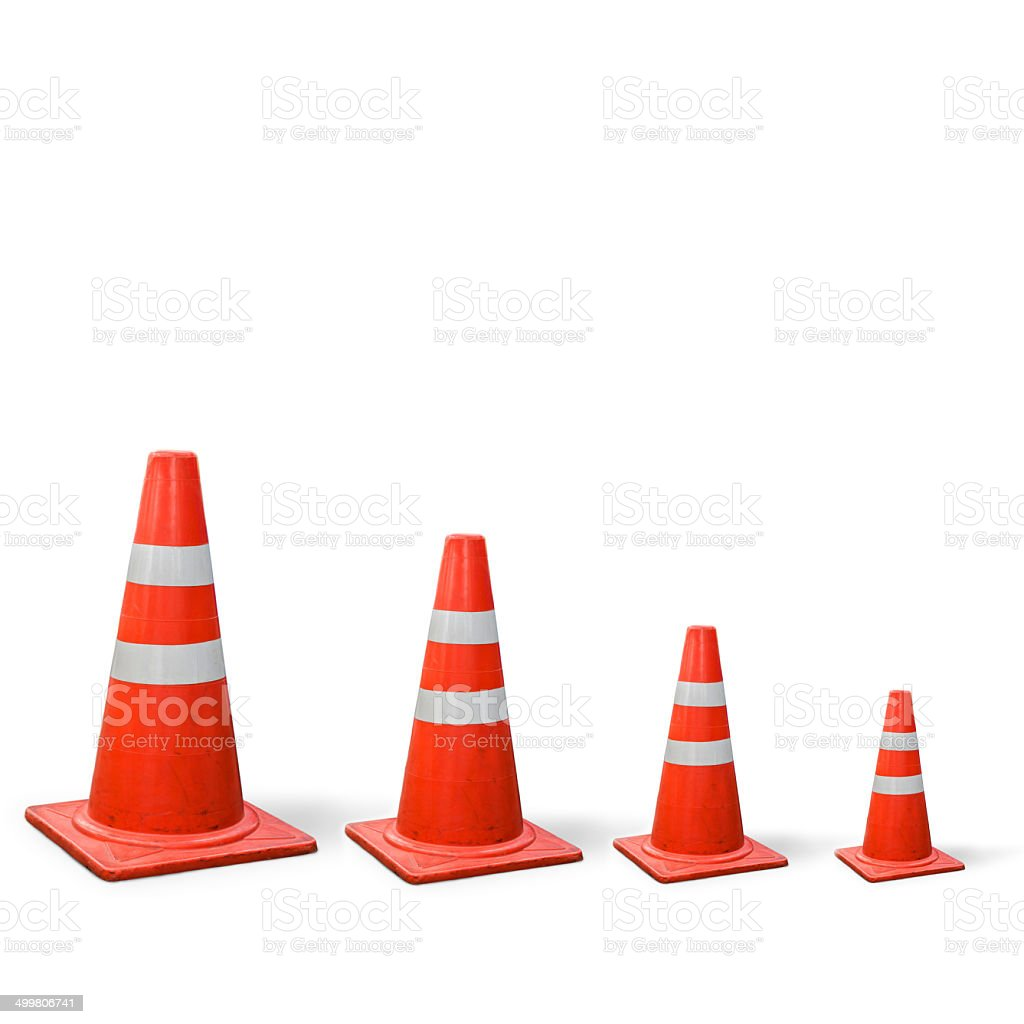 old traffic cones is graph on white background. stock photo