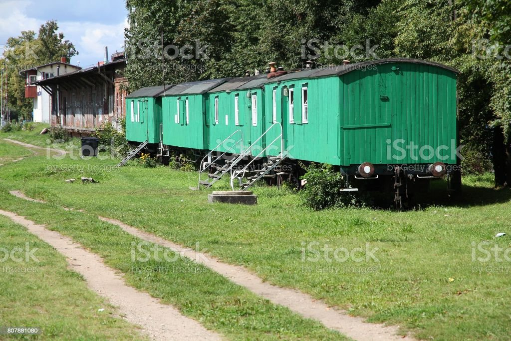 Old train car homes stock photo