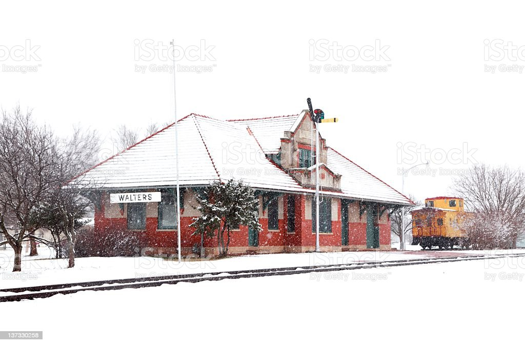 Old Train Depot in the Snow royalty-free stock photo