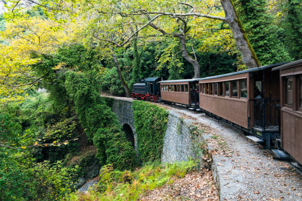 Old train In Greece stock photo