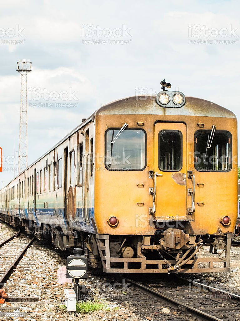 Old train in mass transit. stock photo