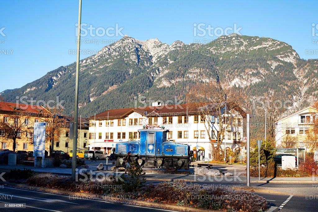 Old train of Zugspitzbahn stock photo