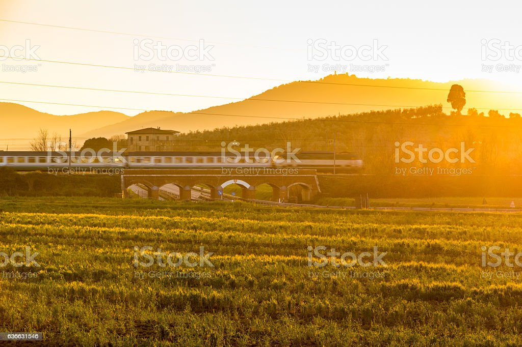 Old train overpass in maremma, tuscany stock photo