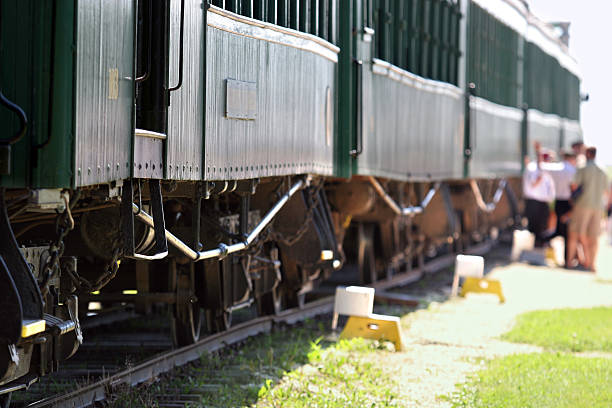 Old train passenger cars stock photo