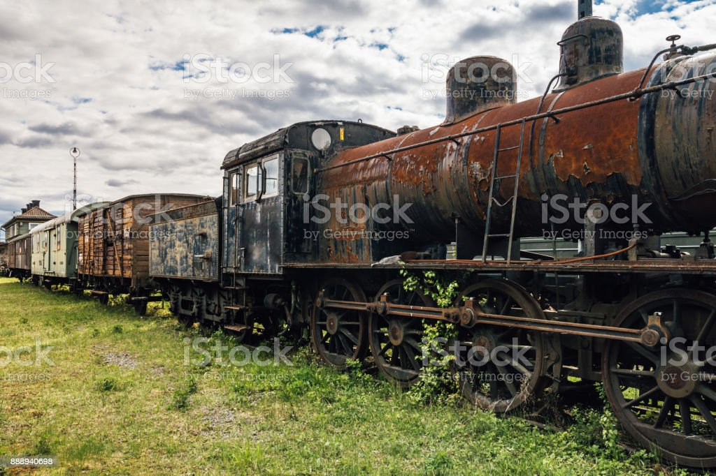 Old train set with a steam locomotive stock photo