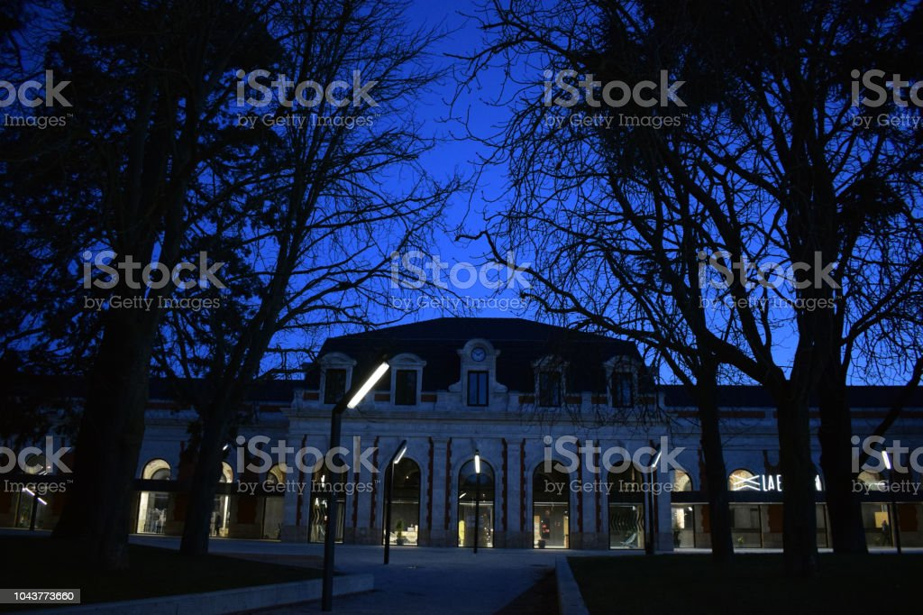 Old train station during the night. stock photo