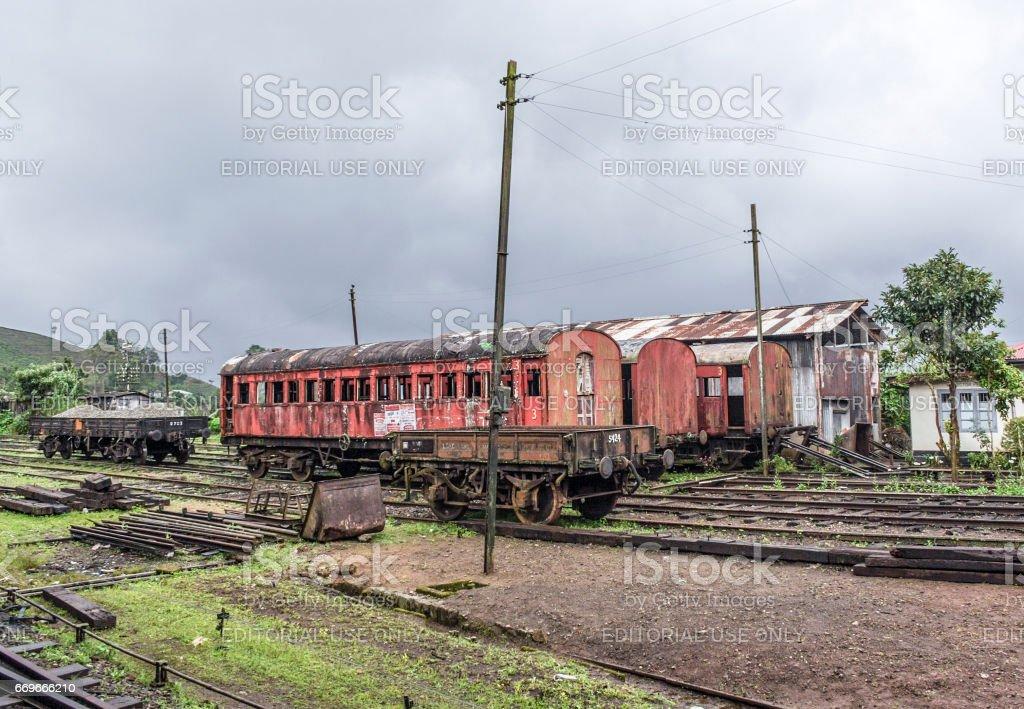 old trains at the train station in Nuwara Eliya stock photo
