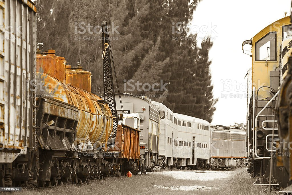 Old trains on trainyard royalty-free stock photo