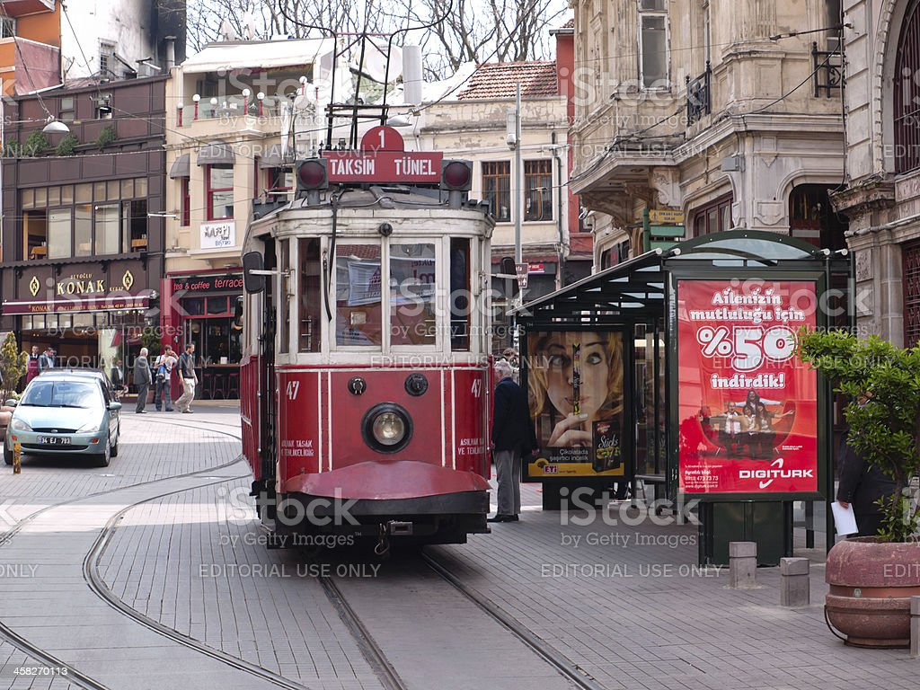 old tram in Istanbul, Turkey royalty-free stock photo