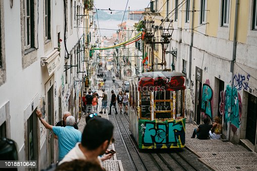 Tourists are visiting the old tramway in Lisbon Portugal