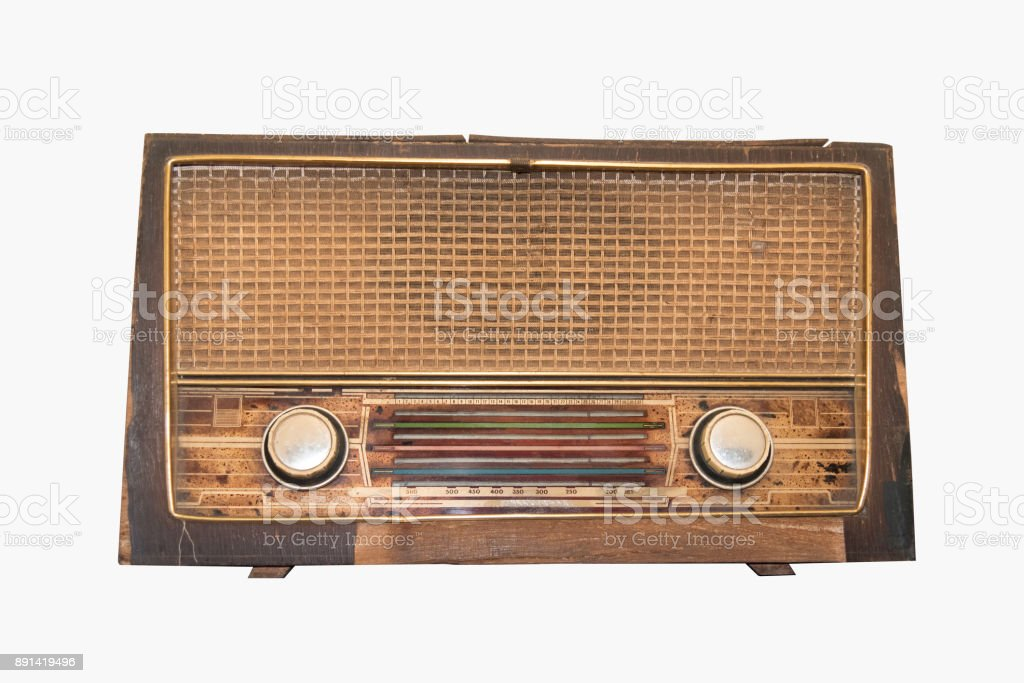 Old transistor Radio is made of wood isolate on white background stock photo
