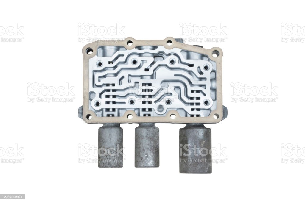 Old Transmission Linear Shift Solenoid isolated. stock photo