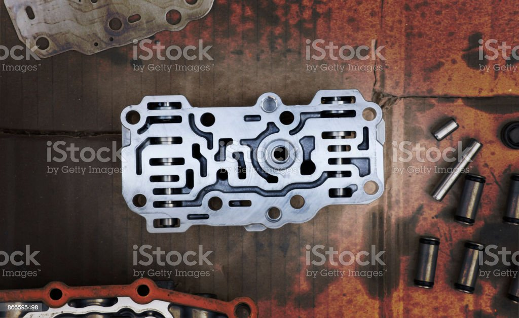 Old Transmission Linear Shift Solenoid. stock photo