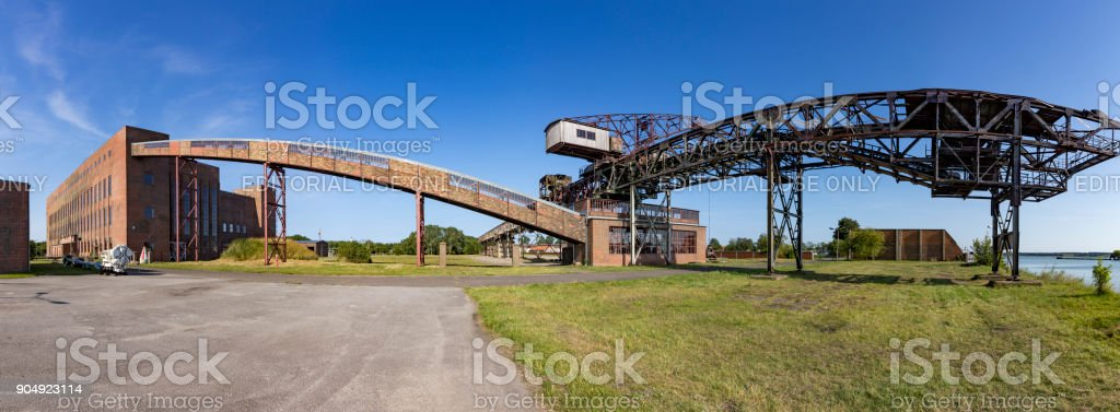 old transportion belt in the starting area of V2 rockets during WW2 stock photo