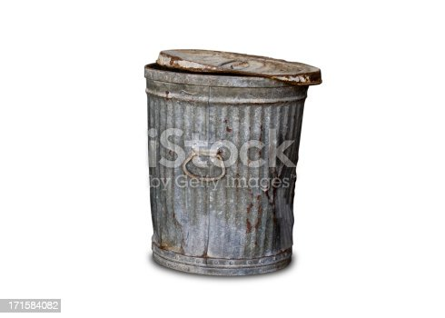 Rusty old trashcan isolated on white with a clipping path included in the file to make it easy to cut out and put in your own background.