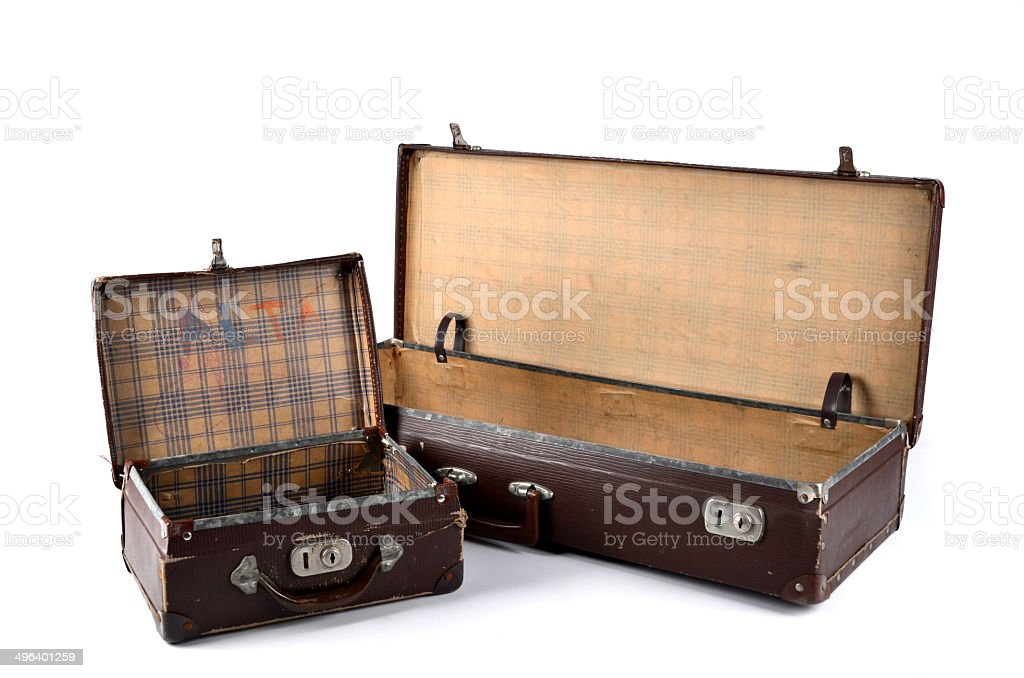 Old travelling and school cases with clipping path stock photo