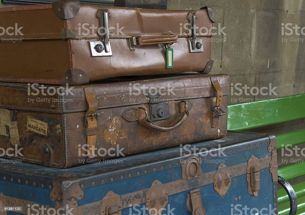 Old Travelling Suitcases royalty-free stock photo